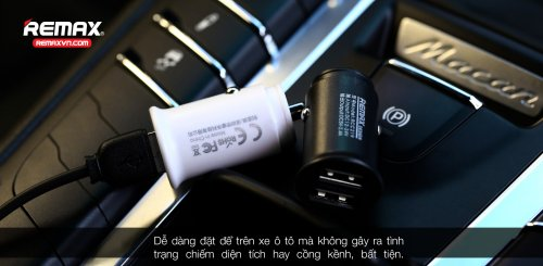 Củ sạc ô tô 2.4A 2 cổng USB Remax RCC219 ,1
