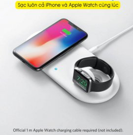 Sạc không dây chính hãng Anker 2in1 sạc nhanh Iphone và Apple Watch